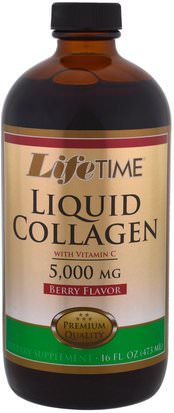 Salud, Hueso, Osteoporosis, Colágeno Life Time, Liquid Collagen with Vitamin C, Berry Flavor, 5,000 mg, 16 fl oz. (473 ml)