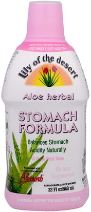 Suplementos, Aloe Vera, Aloe Vera Liquido Lily of the Desert, Aloe Herbal Stomach Formula, Mint, 32 fl oz (946 ml)
