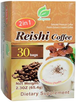 Comida, Café, Café Instantáneo, Suplementos, Adaptógeno Longreen Corporation, 2 in 1 Reishi Coffee, Reishi Mushroom & Columbian Coffee, 30 Bags, 2.3 oz (65.4 g) Each