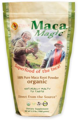 Suplementos, Adaptógeno Maca Magic, Organic, 100% Pure Maca Root Powder, 2.2 lbs (1000 g)