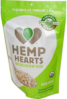 Suplementos, Efa Omega 3 6 9 (Epa Dha), Productos De Cáñamo, Semillas De Cáñamo Sin Cáscara Manitoba Harvest, Hemp Hearts, Natural Raw Shelled Hemp Seeds, 12 oz (340 g)