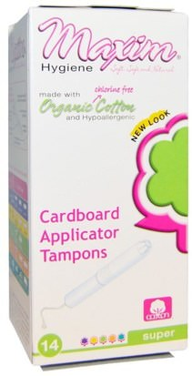 Baño, Belleza, Mujer Maxim Hygiene Products, Organic Cotton Cardboard Applicator Tampons, Super, 14 Tampons