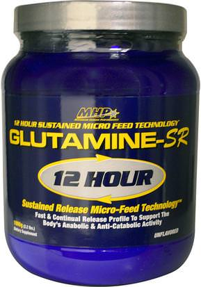 Suplementos, Aminoácidos, L Glutamina, L Glutamina En Polvo Maximum Human Performance, LLC, Glutamine-SR 12 Hour Sustained Release Micro-Feed Technology, Unflavored, 2.2 lbs (1000 g)