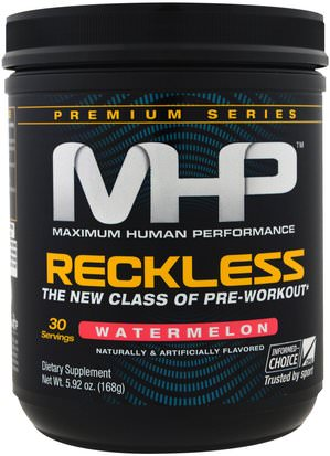 Deportes, Entrenamiento Maximum Human Performance, LLC, Reckless Pre-Workout, Watermelon, 5.92 oz (168 g)