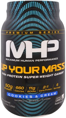 Deportes, Deporte Maximum Human Performance, LLC, Up Your Mass, High Protein Super Weight Gainer, Cookies & Cream, 2.33 lbs (1,056 g)