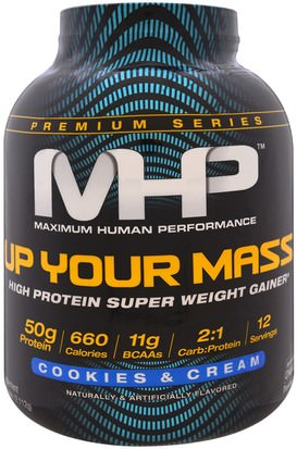 Deportes, Deporte Maximum Human Performance, LLC, Up Your Mass, High Protein Super Weight Gainer, Cookies & Cream, 4.66 lbs (2,112 g)