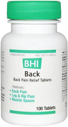 Salud, Dolor De Espalda, Suplementos, Alivio Del Dolor Homeopatico MediNatura, BHI, Back, Pain Relief, 100 Tablets