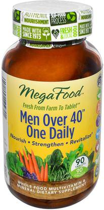 Vitaminas, Hombres Multivitaminas, Hombres MegaFood, Men Over 40 One Daily, Iron Free, 90 Tablets