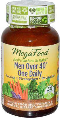 Vitaminas, Hombres Multivitaminas, Hombres MegaFood, Men Over 40 One Daily, Iron Free Formula, 30 Tablets