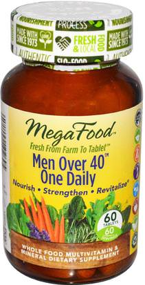 Vitaminas, Hombres Multivitaminas, Hombres MegaFood, Men Over 40 One Daily, Iron Free Formula, 60 Tablets