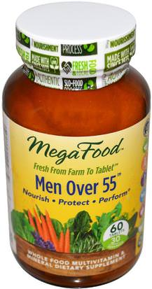 Vitaminas, Hombres Multivitaminas, Hombres MegaFood, Men Over 55, Whole Food Multivitamin & Mineral, Iron Free, 60 Tablets