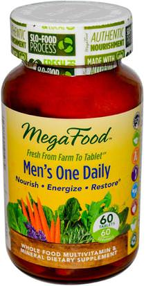 Vitaminas, Hombres, Multivitaminas MegaFood, Mens One Daily, Iron Free, 60 Tablets
