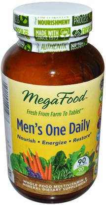 Vitaminas, Hombres, Multivitaminas MegaFood, Mens One Daily, Iron Free, 90 Tablets