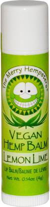 Baño, Belleza, Cuidado Labial, Bálsamo Labial Merry Hempsters, Vegan Hemp Balm, Lip Balm, Lemon-Lime, 0.14 oz (4 g)