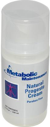 Salud, Mujeres, Productos De Crema De Progesterona Metabolic Maintenance, Natural Progeste Cream, 3.5 fl oz (100 ml)