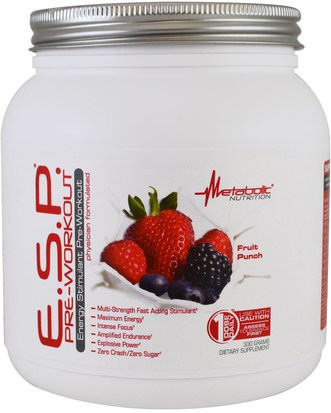 Deportes, Entrenamiento Metabolic Nutrition, E.S.P Pre-Workout, Fruit Punch, 300 g