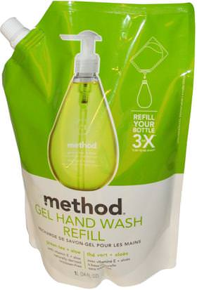 Baño, Belleza, Jabón, Rellenos De Métodos Method, Gel Hand Wash Refill, Green Tea + Aloe, 34 fl oz (1 L)