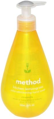 Baño, Belleza, Jabón Method, Kitchen Odor-Eliminating Hand Wash, Lemongrass, 18 fl oz (532 ml)