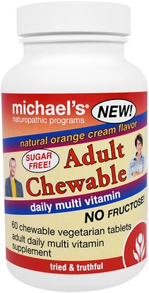 Vitaminas, Multivitaminas Michaels Naturopathic, Adult Chewable Daily Multi Vitamin, Natural Orange Cream Flavor, 60 Chewable Vegan Wafers