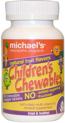 Vitaminas, Multivitaminas, Niños Multivitaminas Michaels Naturopathic, Childrens Chewables, Natural Fruit Flavors, 60 Chewable Veggie Tablets