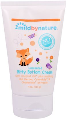 Salud Para Niños, Cambio De Pañales, Cremas Para Pañales Mild By Nature, Bitty Bottom Cream, Unscented, 4 oz (113 g)