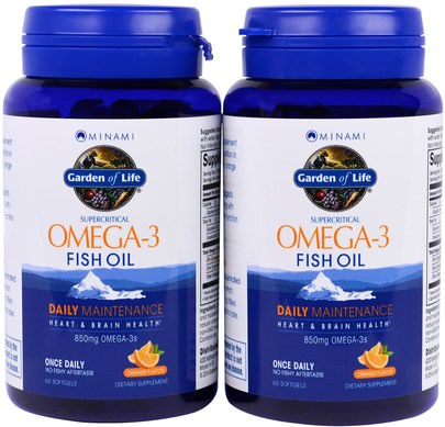 Suplementos, Efa Omega 3 6 9 (Epa Dha), Dha, Epa Minami Nutrition, Supercritical, Omega-3 Fish Oil, 850 mg, Orange Flavor, 120 Softgels Each