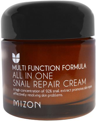 Baño, Belleza, Cuidado Facial, Cremas, Lociones Mizon, All In One Snail Repair Cream, 2.53 oz (75 ml)