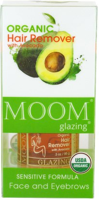 Baño, Belleza, Afeitado, Depilación Con Tiras De Cera Moom, Organic Hair Remover Kit, With Avocado, Face and Eyebrows, 3 oz (85 g)