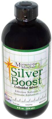 Suplementos, Plata Coloidal Morningstar Minerals, Silver Boost, Colloidal Silver, 8 fl oz (236 ml)