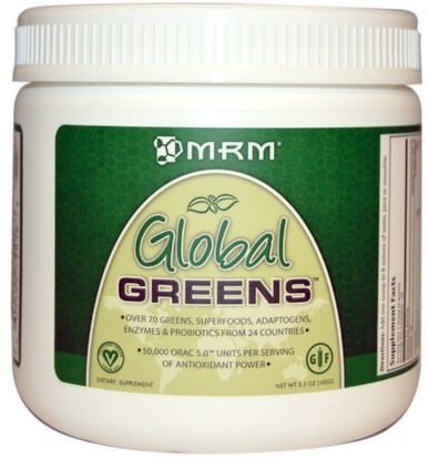 Suplementos, Superalimentos, Verdes MRM, Global Greens, 3.5 oz (100 g)