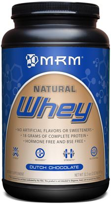 Suplementos, Proteína De Suero De Leche MRM, Natural Whey, Dutch Chocolate, 32.3 oz (917 g)