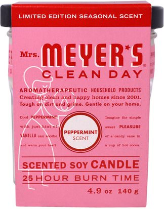 Baño, Belleza, Velas Mrs. Meyers Clean Day, Scented Soy Candle, Peppermint, 4.9 oz (140 g)