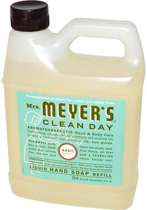 Baño, Belleza, Jabón, Recargas Mrs. Meyers Clean Day, Liquid Hand Soap Refill, Basil Scent, 33 fl oz (975 ml)