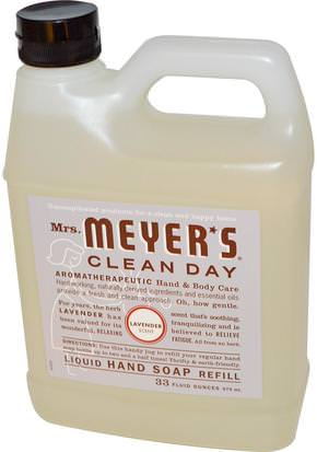 Baño, Belleza, Jabón, Recargas Mrs. Meyers Clean Day, Liquid Hand Soap Refill, Lavender Scent, 33 fl oz (975 ml)