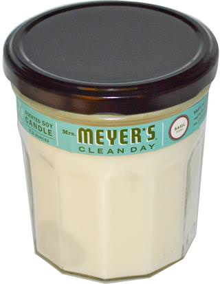 Baño, Belleza, Velas Mrs. Meyers Clean Day, Scented Soy Candle, Basil Scent, 7.2 oz