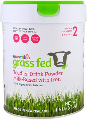 Salud De Los Niños, Fórmula Para Bebés Y Leche En Polvo, Fórmula Orgánica Munchkin, Grass Fed, Toddler Drink Powder, Milk-Based with Iron, 1 to 3 Years, 1.6 lb (730 g)