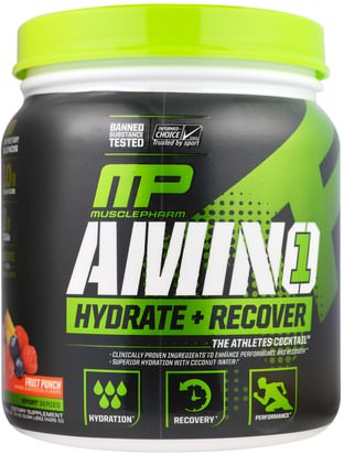 Deportes, Entrenamiento, Deporte MusclePharm, Amino 1, Hydrate + Recover, Fruit Punch.15 oz (426 g)