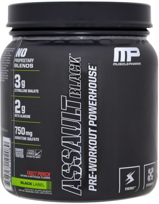 Salud, Energía, Deportes MusclePharm, Assault Black, Pre-Workout Powerhouse, Fruit Punch, 13.12 oz (372 g)