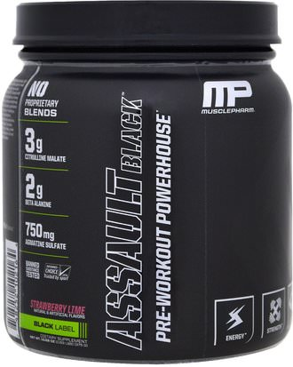 Salud, Energía, Deportes MusclePharm, Assault Black, Pre-Workout Powerhouse, Strawberry Lime, 12.27 oz (348 g)