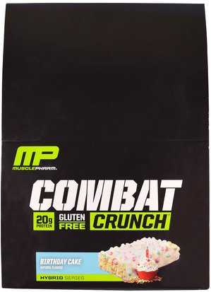 Deportes, Barras De Proteína MusclePharm, Combat Crunch, Birthday Cake, 12 Bars, 2.22 oz (63 g) Each