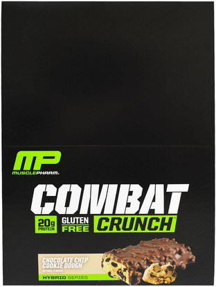 Deportes, Barras De Proteína MusclePharm, Combat Crunch, Chocolate Chip Cookie Dough, 12 Bars, 63 g Each