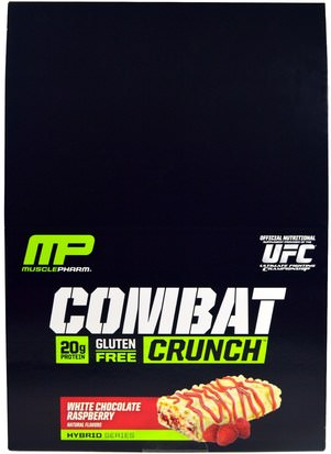 Deportes, Barras De Proteína MusclePharm, Combat Crunch, White Chocolate Raspberry, 12 Bars, 2.22 oz (63 g) Each