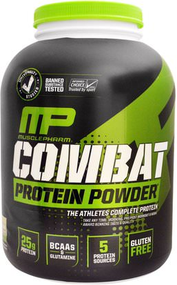 Suplementos, Proteína MusclePharm, Combat Protein Powder, Cookies N Cream, 64 oz (1814 g)