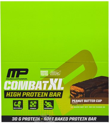 Proteína Deportiva, Deportes, Barras De Proteínas MusclePharm, Combat XL High Protein Bar, Peanut Butter Cup, 12 Bars, 38 oz (1080 g)