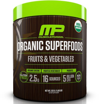Suplementos, Superalimentos MusclePharm Natural, Organic Superfoods, Fruits & Vegetables, 0.49 lbs (222 g)