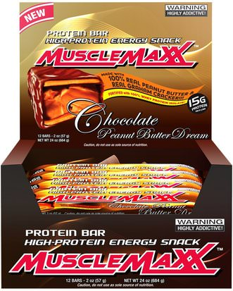 Deportes, Barras De Proteína MuscleMaxx, High-Protein Energy Snack, Chocolate Peanut Butter Dream, 12 Bars, 2 oz (57 g) Each