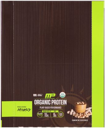 Deportes, Suplementos, Proteínas MusclePharm Natural, Organic Protein Bar, Peanut Butter, 12 Bars, 21.20 oz (600 g)