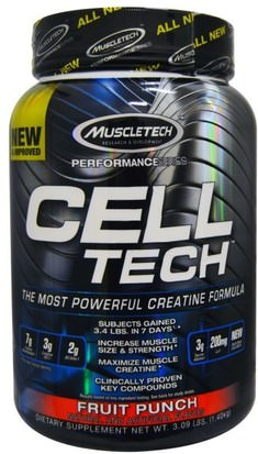 Deportes, Creatina Muscletech, Cell Tech, The Most Powerful Creatine Formula, Fruit Punch, 3.09 lbs (1.40 kg)
