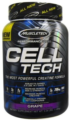 Deportes, Creatina Muscletech, Cell Tech, The Most Powerful Creatine Formula,Grape, 3.09 lbs (1.40 kg)
