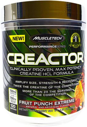 Deportes, Creatina Muscletech, Creactor, Fruit Punch Extreme, 9.51 oz (269 g)